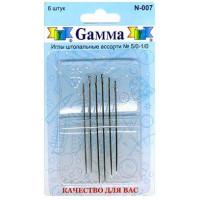 Гамма N-007 Иглы ручные для штопки №5/0-1/0, 6 шт