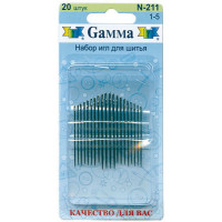 Гамма N-211 Иглы ручные для шитья №1-5, 20 шт