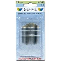 Гамма N-301 Иглы ручные для шитья тонкие №3-9, 20 шт