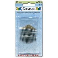 Гамма N-303 Иглы ручные для шитья (средние) №3-9, 20 шт