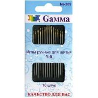 Гамма N-309 Иглы ручные для шитья №1-5, 16 шт
