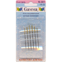 Гамма N-381 Иглы ручные вышивальные синельные №18-22, 6 шт