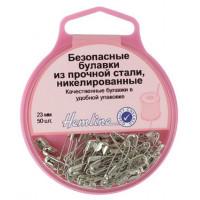 Hemline 410.00 Булавки безопасные в пластиковом круглом контейнере (сталь)