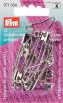 Prym 071364 Английские булавки со спиралью, латунь № 1, 2, 3 серебристый цвет, изогнутые 27/38/50 мм