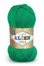Пряжа для вязания Alize Diva (Ализе Дива) Цвет 123 зеленая трава