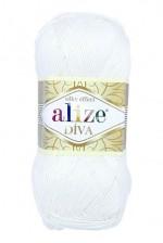 Пряжа для вязания Alize Diva (Ализе Дива) Цвет 55 белый