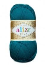 Пряжа для вязания Alize Diva (Ализе Дива) Цвет 646 темная бирюза