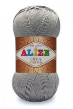 Пряжа для вязания Alize Diva Stretch (Ализе Дива Стрейч) Цвет 253 серый