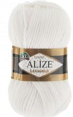 Пряжа Alize Lanagold (Ализе Лана Голд) Цвет 55 белый