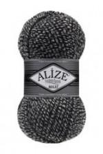 Пряжа для вязания Alize Superlana Maxi (Ализе Суперлана Макси) Цвет 601 черно белый
