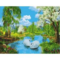 Paintboy GX37075 Картина по номерам 40х50 GX37075 Лебеди в озере