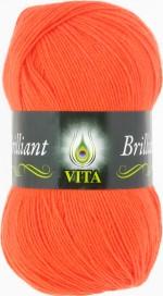 Пряжа для вязания Vita Brilliant Цвет 5104 ультра-оранжевый коралл