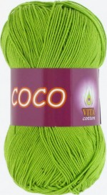 Пряжа для вязания Vita Cotton Coco (Вита Коко) Цвет 3861 ярко-зеленый