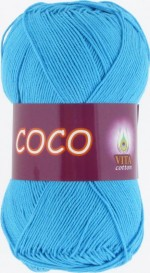 Пряжа для вязания Vita Cotton Coco (Вита Коко) Цвет 3878 голубая бирюза