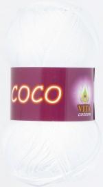 Пряжа для вязания Vita Cotton Coco (Вита Коко) Цвет 3851 белый